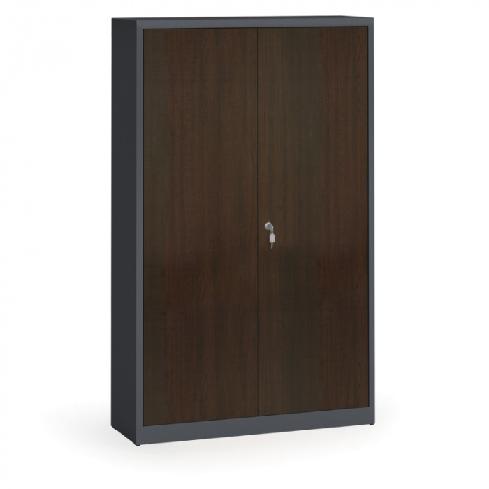 geschwei ter schrank mit lamin t ren 1950 x 1200 x 400 mm ral 7016 wenge b2b partner. Black Bedroom Furniture Sets. Home Design Ideas