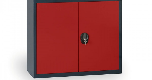 Blechschrank, 800x800x400 mm, 1 Regal, anthrazit/rot | B2B Partner